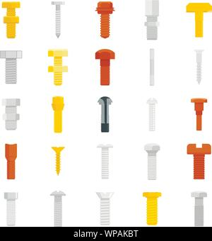 Screw-bolt icons set. Flat set of screw-bolt vector icons for web design - Stock Photo