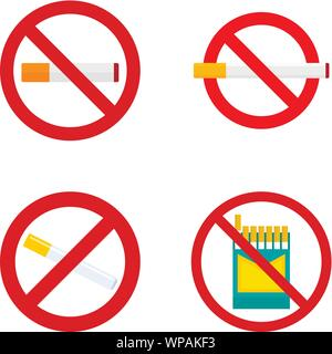 No smoking icon set. Flat set of no smoking vector icons for web design - Stock Photo