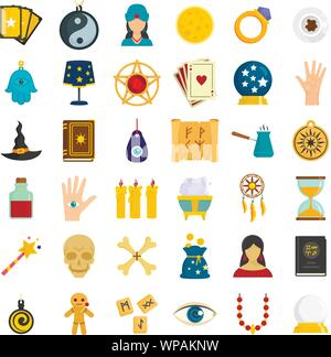 Magic fortune teller icons set. Flat set of magic fortune teller vector icons for web design - Stock Photo