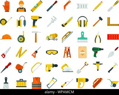 Masonry worker icon set. Flat set of masonry worker vector icons for web design - Stock Photo