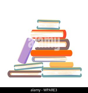 Sloppy stack of books vector illustration. Pile of books concept isolated on white background. - Stock Photo