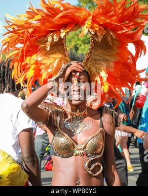 Hackney, London, UK. 08th Sep, 2019. Participants and revellers enjoy a large peaceful and fun filled Hackney Carnival 2019 parade in beautiful sunshine, reflecting the borough's renowned creativity and diversity. Credit: Imageplotter/Alamy Live News - Stock Photo