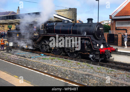 Ex Br Class 4MT steam locomotive 76079  2-6-0 at Whitby on the North Yorkshire Moors Railway September 2019 - Stock Photo