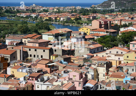 aerial view of the beautiful city of Bosa on the Sardinian coast, crossed by the navigable river Temo - Stock Photo