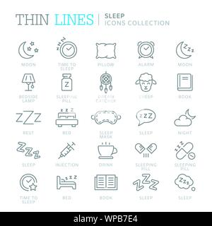 Collection of sleep related icons - Stock Photo