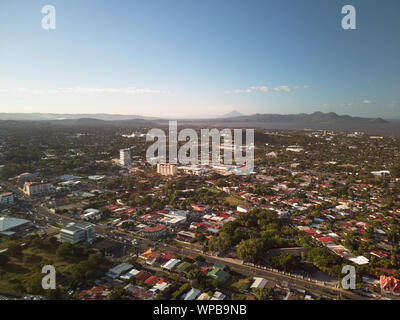 Center of Managua city in Nicaragua aerial drone view - Stock Photo