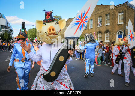 Hackney, London, UK. 08th Sep 2019. Participants and revellers enjoy a large peaceful and fun filled Hackney Carnival 2019 parade in beautiful sunshine, reflecting the borough's renowned creativity and diversity. Credit: Imageplotter/Alamy Live News - Stock Photo