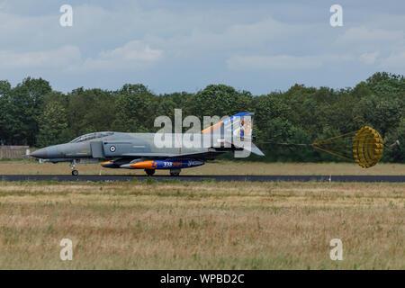 VOLKEL NETHERLANDS June 13 2019: Greek Air Force McDonnell Douglas F-4 Phantom II at Luchtmachtdagen - Stock Photo