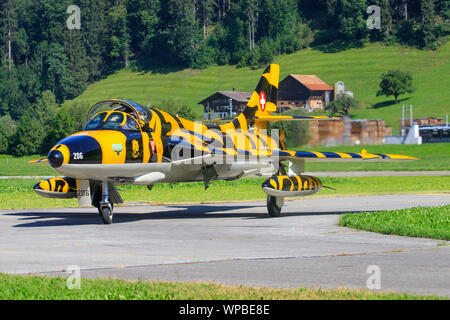 Sant Stephan, Switzerland - September 3, 2019: Former Swiss Air Force Hawker Hunter F.58 HB-RVS - Stock Photo