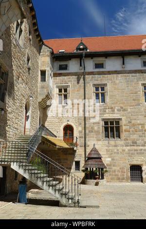 Castle in Budyne nad Ohri built in romantic style, Czech Republic. - Stock Photo
