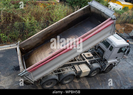 Road works with asphalting new surface - Stock Photo