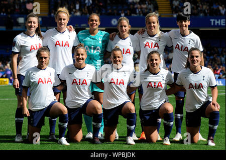Fulham, UK. 08th Sep, 2019. The Tottenham Hotspur Women prior to the Barclays Women's Super League match between Chelsea Women and of Tottenham Hotspur Women at Stamford Bridge in London, UK - 8th September 2019 Credit: Action Foto Sport/Alamy Live News - Stock Photo