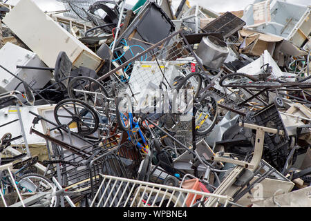 Landfill, collection site, discarded  'metal & plastic'  products. - Stock Photo