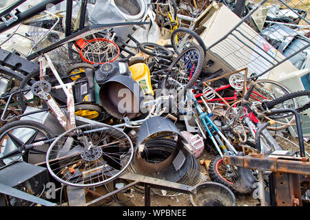 Landfill, collection site, discarded, unwanted  'metal'  products. - Stock Photo