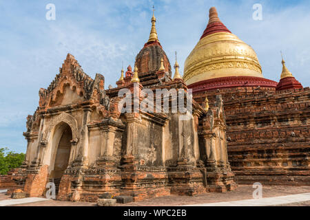 Wide angle picture of huge architecture Dhammayazika Pagoda, landmark of Bagan in Myanmar - Stock Photo