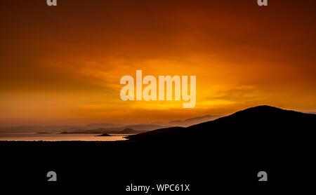 Sunrise over Abaya Lake and Nechisar National Park in Ethiopia. - Stock Photo