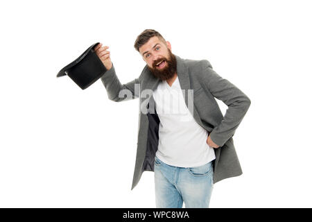 Man bearded guy magician. Magic trick performance concept. Circus magic trick performance. Entertainment and theatre. Magic show. Master of cunning tricks. Time traveller. Street performance. - Stock Photo