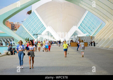 People visit the City of Arts and Sciences, Oceanographic museum, famous place from Spain, Valencia in Europe. Leisure concept in Valence, 2019 - Stock Photo