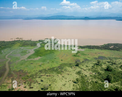 Aerial view of Abaya Lake and Nechisar national park in Ethiopia. - Stock Photo