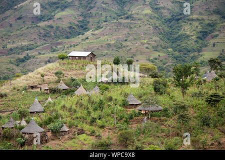 Ethiopian village in the southern mountains of Ethiopia near Arba Minch. - Stock Photo
