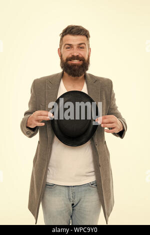 Man bearded guy magician. Magic trick performance concept. Circus magic trick performance. Entertainment and theatre. Magic show. Master of cunning tricks. Enjoying ovations. Street performance. - Stock Photo