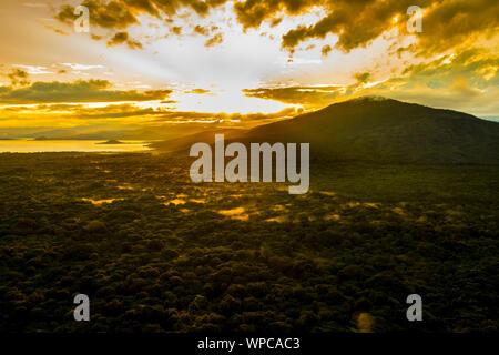 Dramatic sunrise over Nechisar National Park in Arba Minch, Ethiopia. - Stock Photo