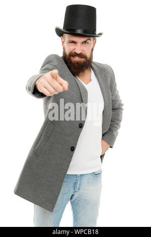 Street performance. Circus worker. Hocus pocus. Man bearded guy magician. Magic trick performance concept. Circus magic trick performance. Entertainment and theatre. I will show you real magic. - Stock Photo