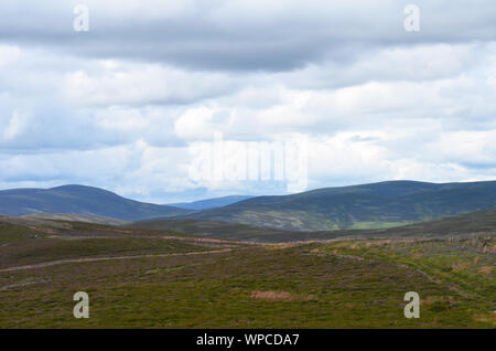 Moorland along the Sgor Buidhe trek near Ballater, Cairngorm mountains, Scotland - Stock Photo