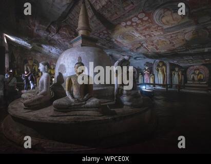 DAMBULLA / SRI LANKA - AUGUST 07, 2019:  Cave in Dambulla, Sri Lanka. The largest cave for the buddha temple in Sri Lanka. It's one of destination for - Stock Photo