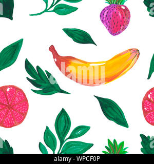 Illustration hand-painted acrylic gouache. Seamless pattern. Exotic banana strawberry grapefruit branches leaves green fruit on white background. - Stock Photo