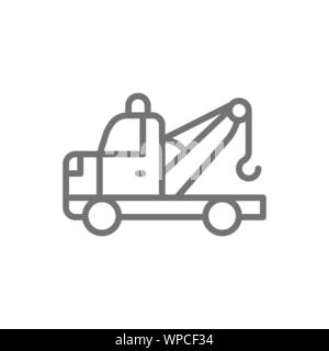 Tow truck line icon. Isolated on white background - Stock Photo