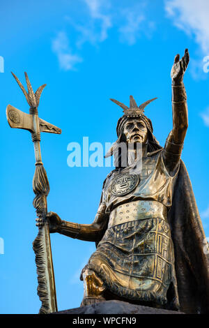 Statue of Pachacuti Inca, Cusco Plaza de Armas Cusco, Urubamba Province, Sacred Valley, Peru - Stock Photo