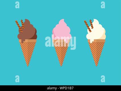 Chocolate vanilla and strawberry Ice cream in the cone. Vector illustration - Stock Photo