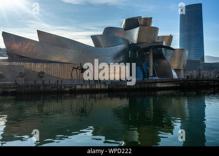 Guggenheim Museum is the most famous landmark in Bilbao, designed by the architect Frank Gehry., Basque Country, Spain - Stock Photo