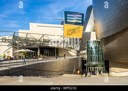 Entrance to Guggenheim Museum of Bilbao, hosting important contemporary art exhibitions. Bilbao, Basque Country, Spain, January 2019 - Stock Photo