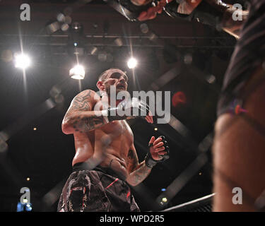 London, UK. 08th Sep, 2019. Troxy, London, England; UCMMA 60; Radoslaw Dziabkowski versus Harry Davies in the  MMA LW Title fight, Harry Davies - Editorial Use Only. Credit: Action Plus Sports Images/Alamy Live News - Stock Photo