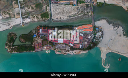 Malacca floating mosque at sunset located on a man-made island in Malacca city an aerial Panoramic view, Malaysia - Stock Photo