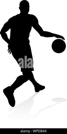 Basketballl player silhouette - Stock Photo
