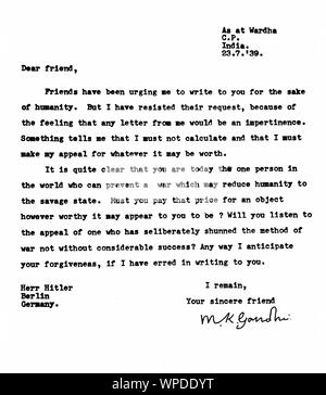 Typed and signed letter from Mahatma Gandhi to Adolf Hitler, July 23, 1939 - Stock Photo