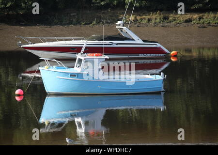 boats on the river Teifi in Cardigan - Stock Photo