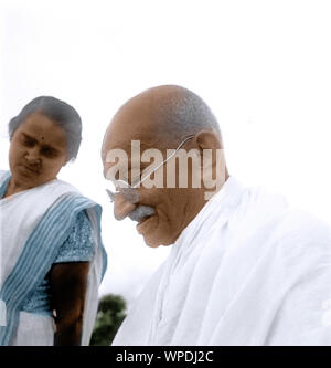 Mahatma Gandhi after prayer meeting, Sevagram, Wardha, Maharashtra, India, Asia, October 2, 1944 - Stock Photo
