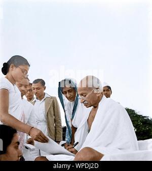 Mahatma Gandhi after prayer meeting, Sevagram, Wardha, India, Asia, October 2, 1944 - Stock Photo