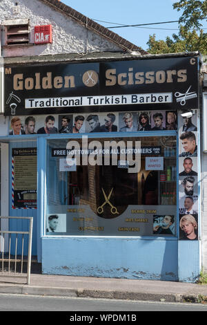 Traditional Turkish barber shop on the High Street in Bordon, Hampshire, UK - Stock Photo