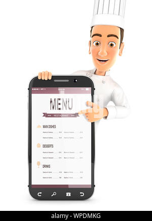 3d head chef pointing to smartphone, illustration with isolated white background - Stock Photo