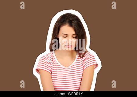 young beautiful sad woman serious and concerned. worried and depressed girl isolated white background. emotional girl Magazine collage style with tren - Stock Photo