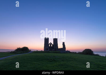 Reculver Towers on the North Kent coast during twilight. - Stock Photo