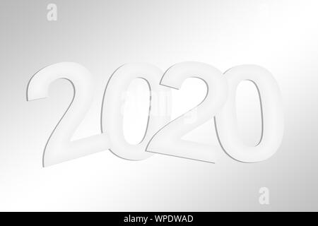 2020 greeting card with white cut paper - Stock Photo