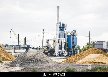 Concrete batching plant. Equipment for production of asphalt, cement and concrete. - Stock Photo