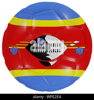 3d rendering of a Swaziland flag on a soccer ball. Isolated in white background - Stock Photo