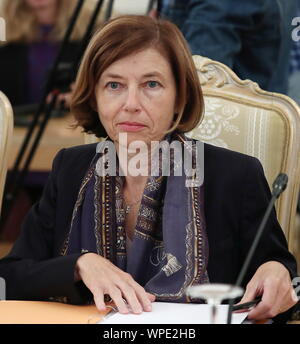 Moscow, Russia. 09th Sep, 2019. MOSCOW, RUSSIA - SEPTEMBER 9, 2019: France's Minister of the Armed Forces Florence Parly during a meeting of the Russian-French Council for Cooperation on Security Issues at the Russian Foreign Ministry's Reception House in Spiridonovka Street. Anton Novoderezhkin/TASS Credit: ITAR-TASS News Agency/Alamy Live News - Stock Photo